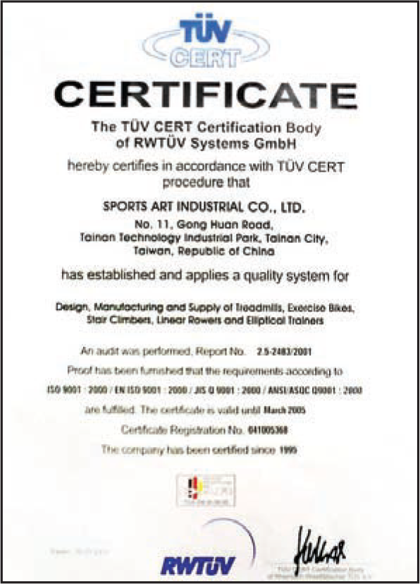 SportsArt Manufacturing Certifications - A Summary Of Excellence